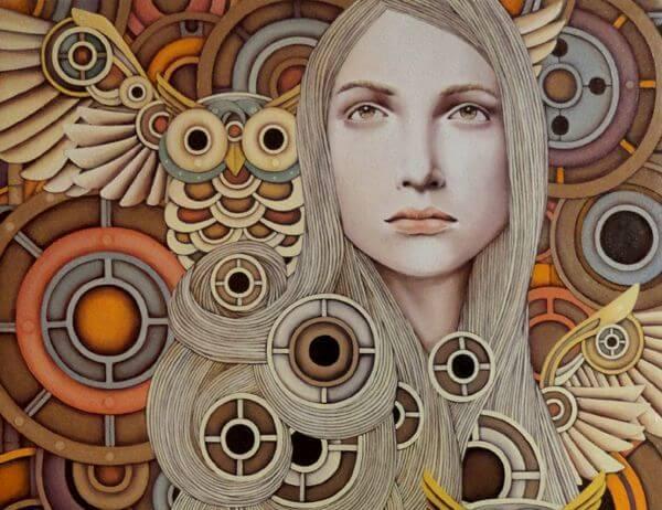 mujer-con-buho-representando-creencias-sabias